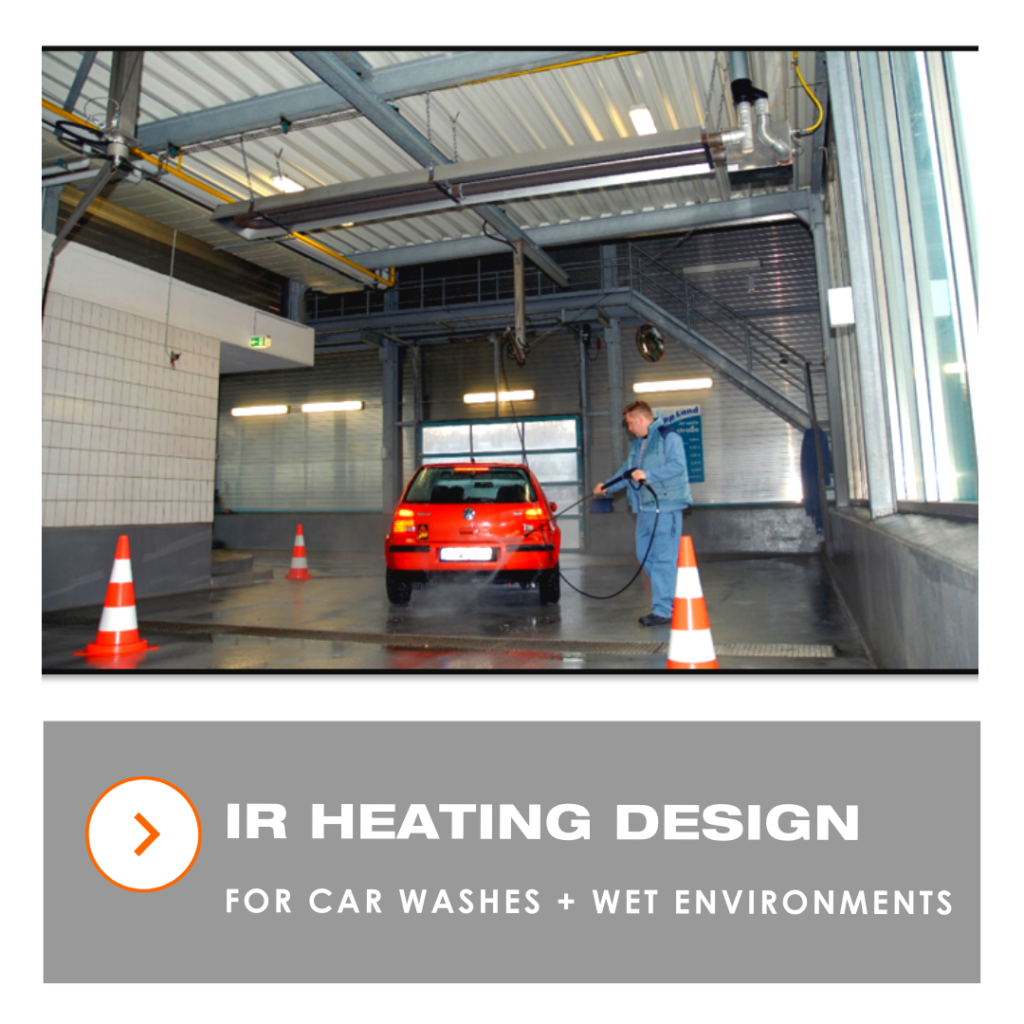 IR heating design for car washes and wet environments